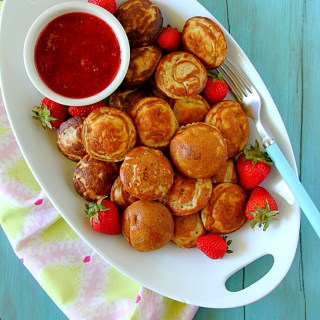 Peanut Butter Stuffed Banana Ebelskivers With Strawberry Sauce