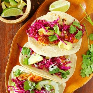 Fish Tacos With Cabbage Slaw & Yogurt-Cilantro Crema