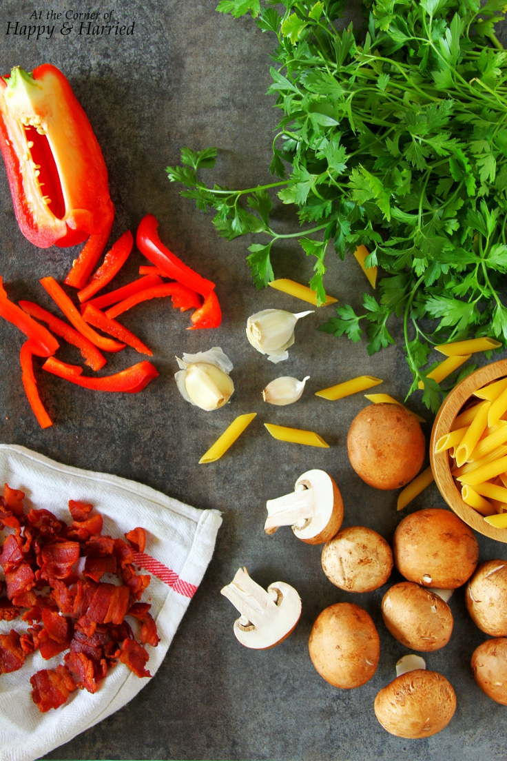 Bacon, Mushroom, Peppers & Tomato Pasta