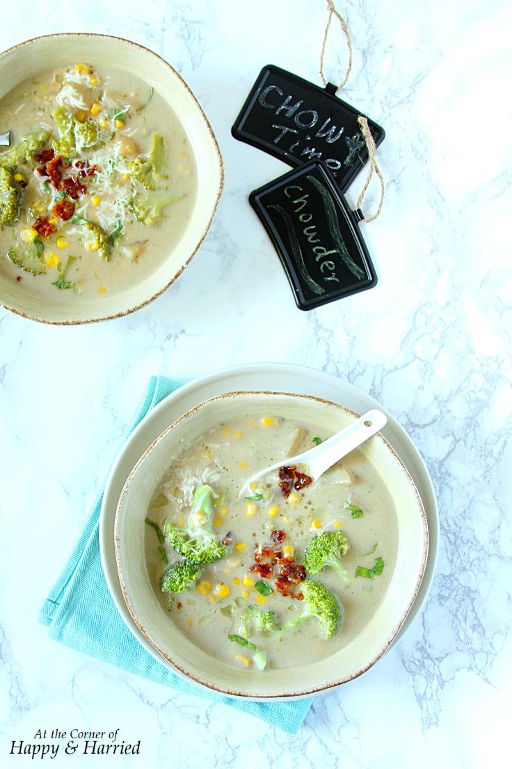 Lighter Broccoli, Potato & Corn Chowder