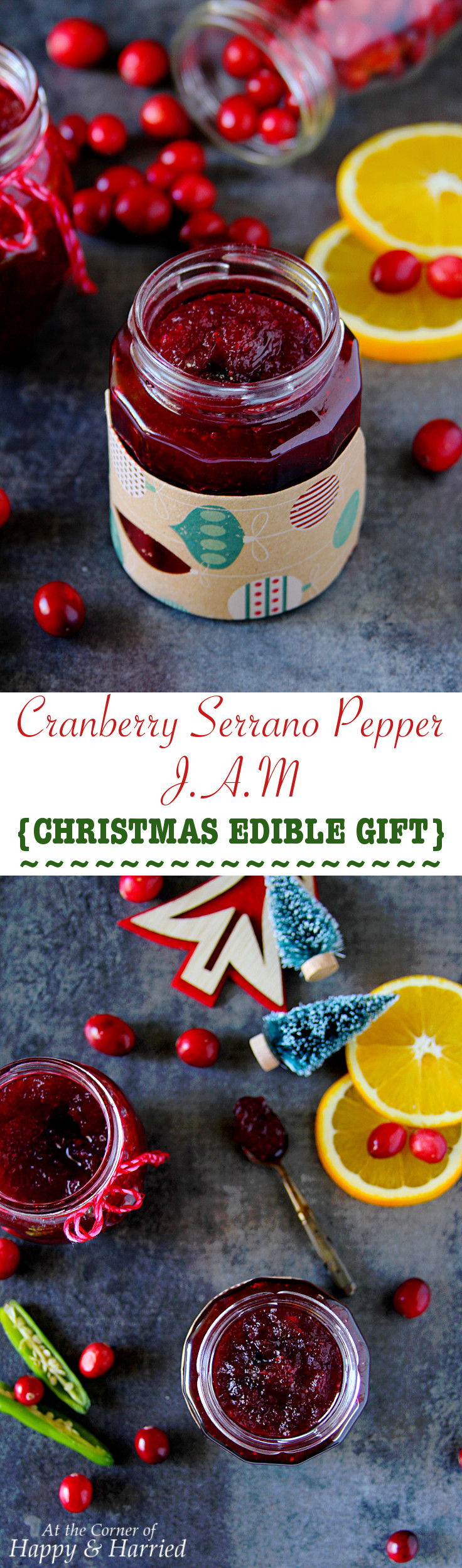 Cranberry Serrano Pepper Jam {Christmas Edible Gift}