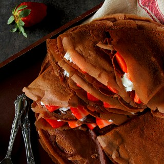 Strawberries & Cream Chocolate Crepes
