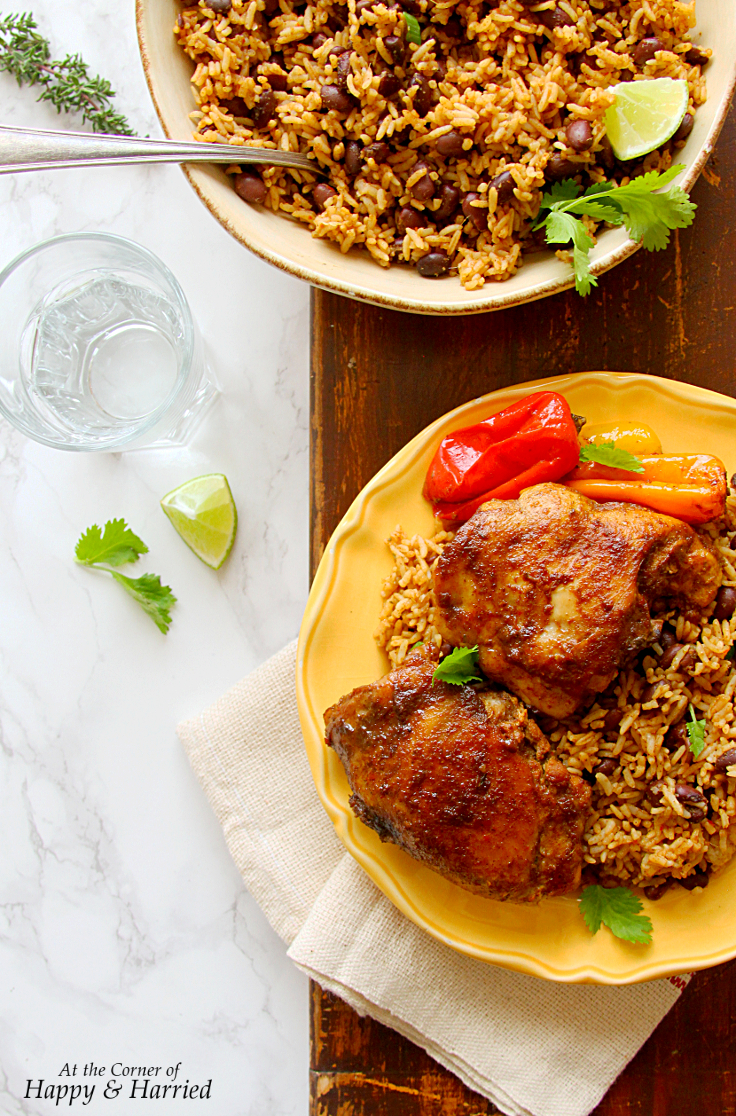 CARIBBEAN JERK CHICKEN & RICE WITH HOMEMADE JERK MARINADE - HAPPY&HARRIED
