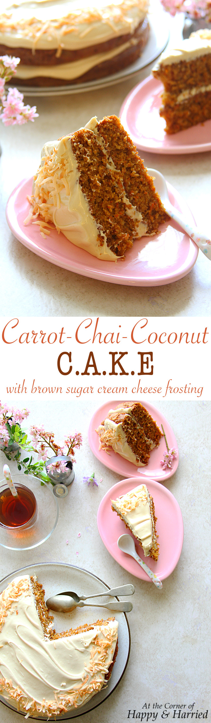 carrot chai coconut cake with brown sugar cream cheese frosting