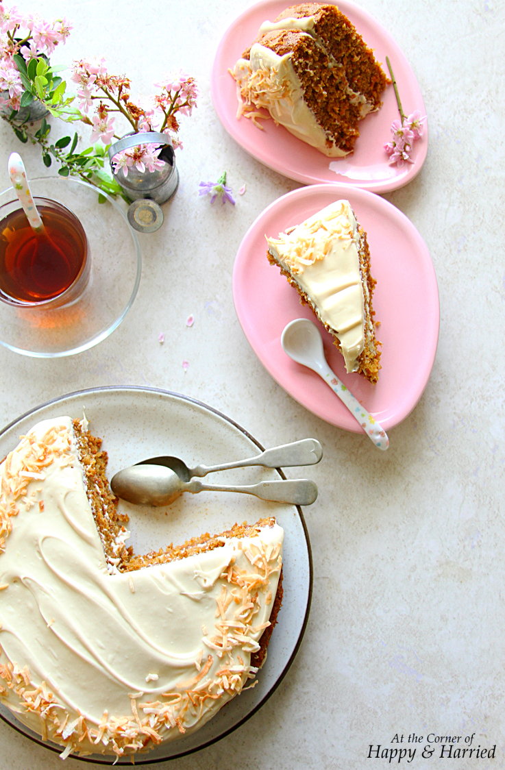 CARROT CHAI COCONUT CAKE WITH BROWN SUGAR CREAM CHEESE FROSTING - HAPPY&HARRIED
