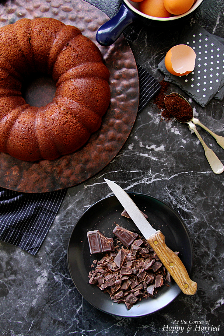 SOUR CREAM CHOCOLATE BUNDT CAKE WITH RICH CHOCOLATE GANACHE - HAPPY&HARRIED