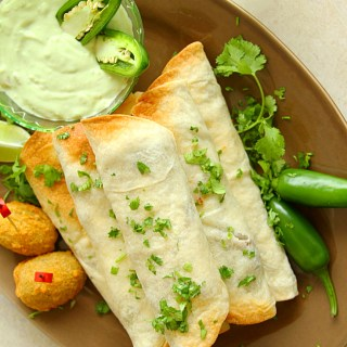 BAKED CHICKEN, BEAN & JALAPENO POPPER TAQUITOS - HAPPY&HARRIED