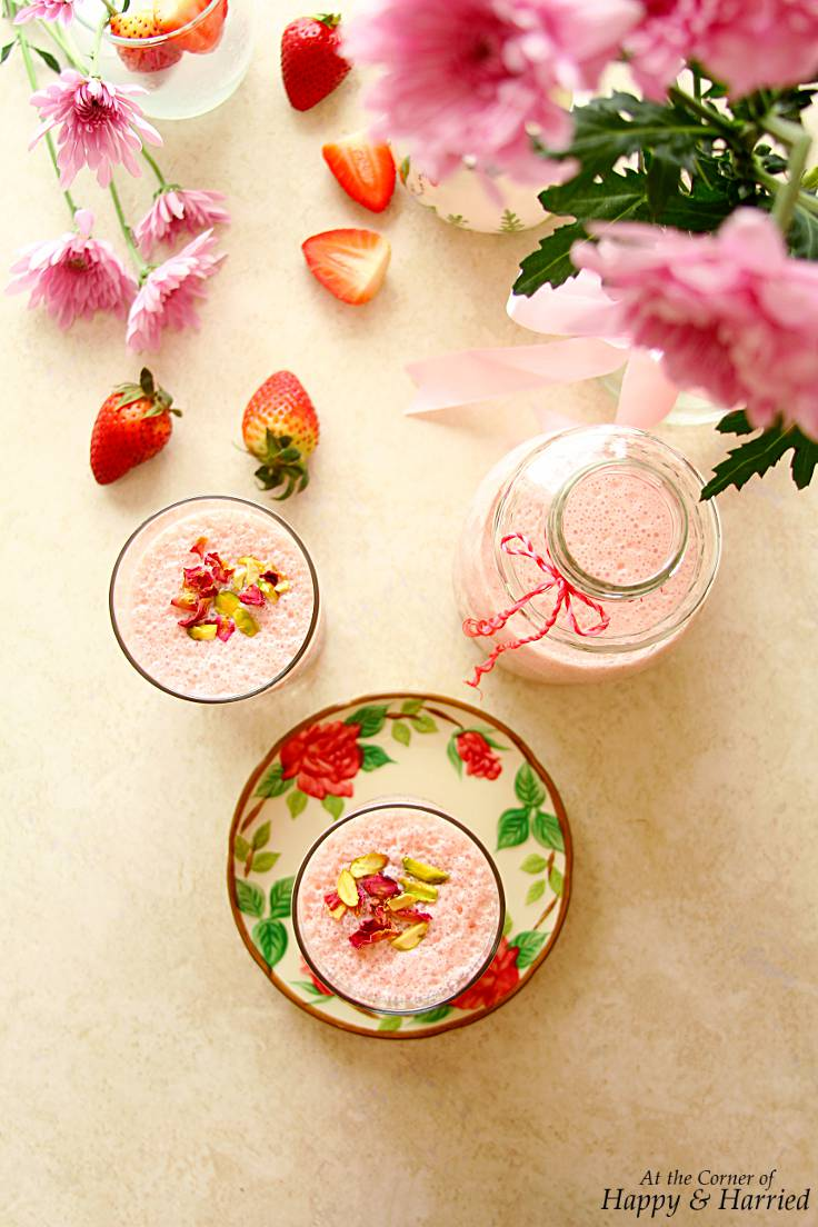 STRAWBERRY & ROSE LASSI - HAPPY&HARRIED