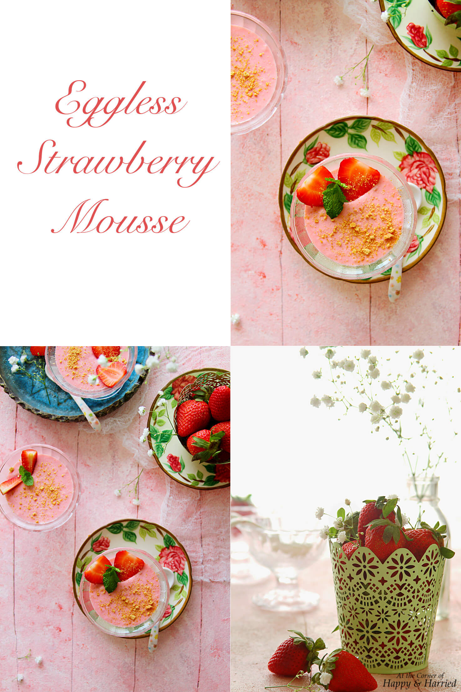 EGGLESS NO-COOK STRAWBERRY MOUSSE - HAPPY&HARRIED