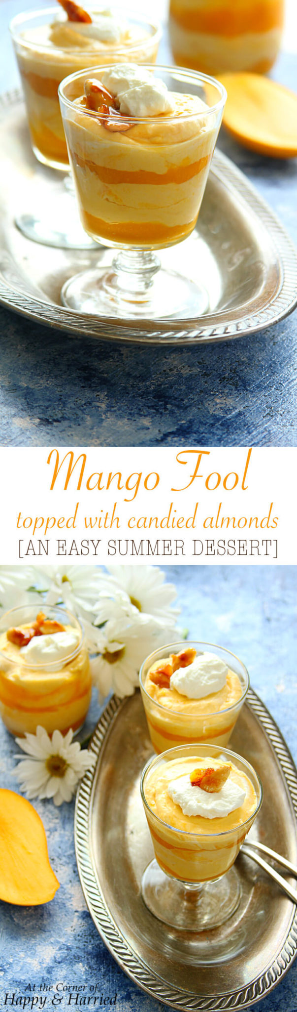 MANGO FOOL TOPPED WITH CANDIED ALMONDS - HAPPY&HARRIED