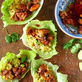 THAI CHICKEN & FRIED RICE LETTUCE WRAPS - HAPPY&HARRIED