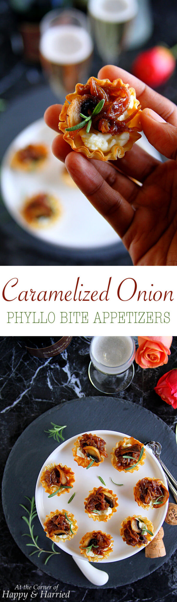 CARAMELIZED ONION PHYLLO BITE APPETIZERS - HAPPY&HARRIED