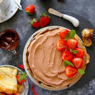 MOCHA CHOCOLATE CREPE CAKE - HAPPY&HARRIED