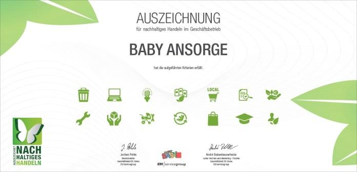HappyBaby München, Baby Ansorge, erhält Auszeichnung als nachhaltiger Fachhändler