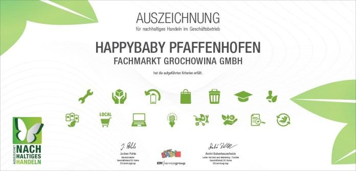 HappyBaby Pfaffenhofen rhält Auszeichnung als nachhaltiger Fachhändler