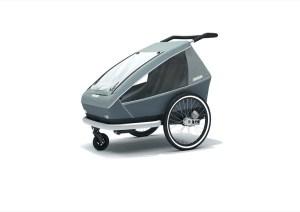 """Der """"Keeke 2"""" von Croozer hat Platz für zwei Kinder, eine spezielle """"Air Pad""""-Federung und lässt sich nicht nur als Sportbuggy, sondern auch als Fahrradanhänger nutzen."""