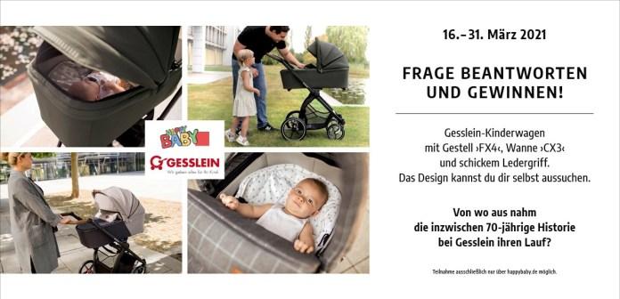"""Im März 2021 verlost HappyBaby.de einen Gesslein-Kinderwagen """"FX4"""" mit Babywanne """"CX3""""."""