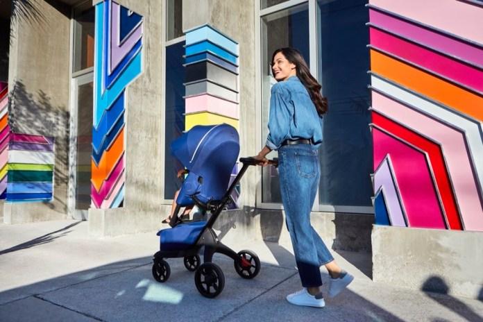 Stokke Xplory in Royal Blue Stroller In Setting