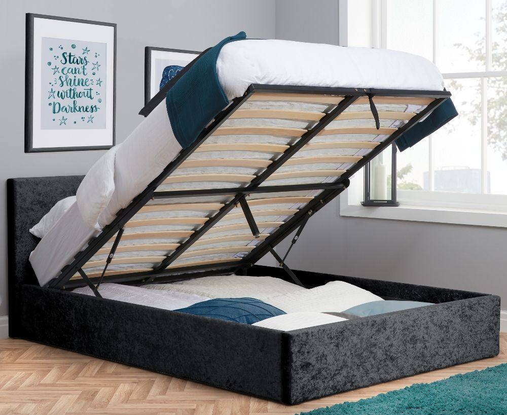 berlin black crushed velvet fabric ottoman storage bed