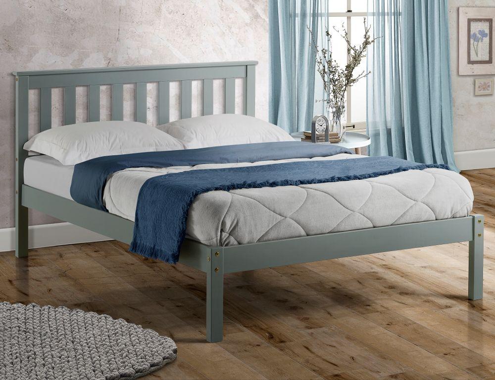 denver grey solid pine wooden bed