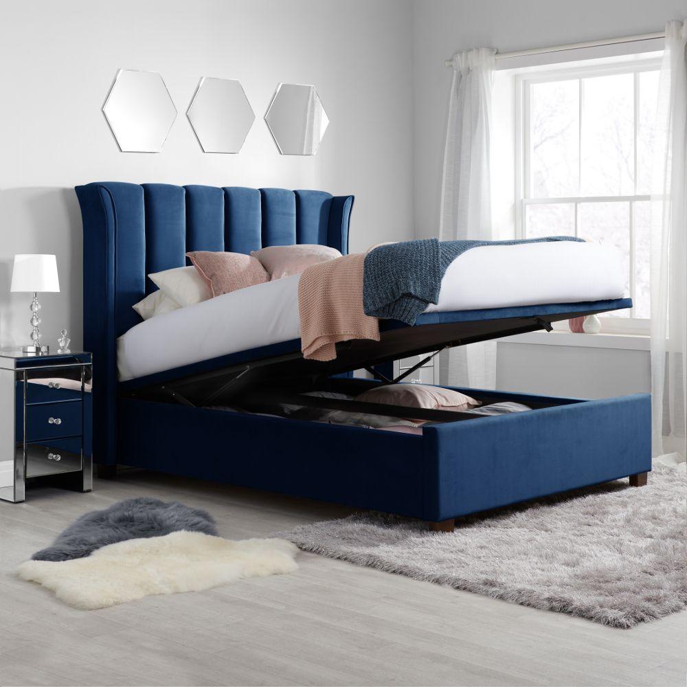 fenton midnight blue velvet fabric ottoman bed