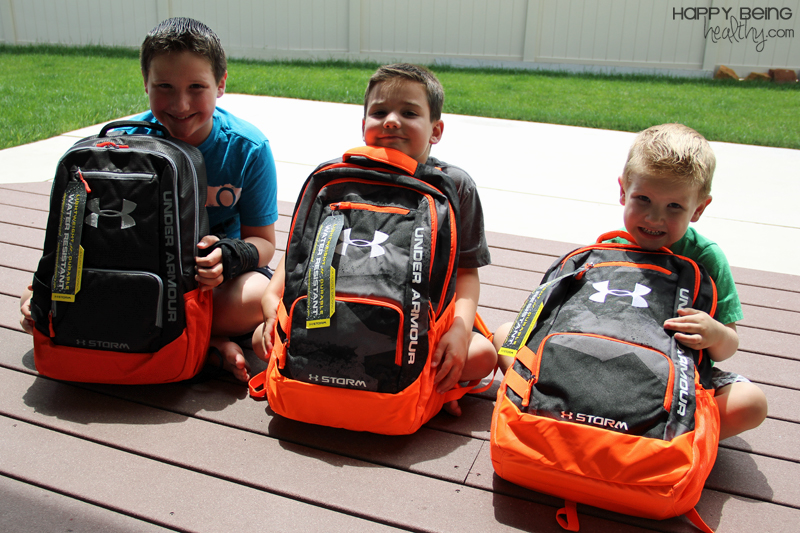 a706ce5476 Under Armour sent a fun Back-to-School package for my three youngest boys  and they were THRILLED! Cute boys with their Under Armour backpacks
