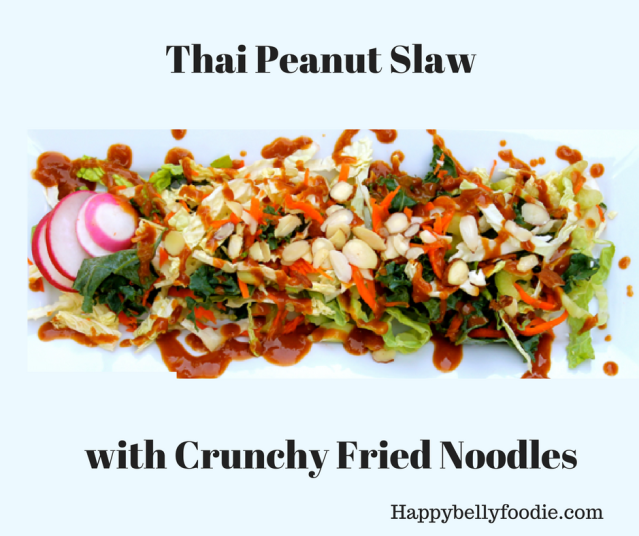 Thai Peanut Slaw with Crunchy Fried Noodles is a sweet, peanut-y, crunchy, all-in-one fantastic little side dish that's perfect for celebrating Autumn.