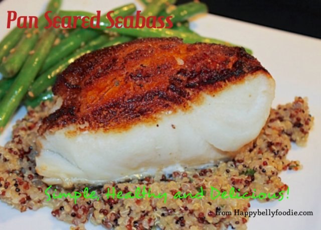 Pan Seared Sea Bass is a quick, healthy dish and it's absolutely delish! Treat yourself tonight. from Happybellyfoodie.com