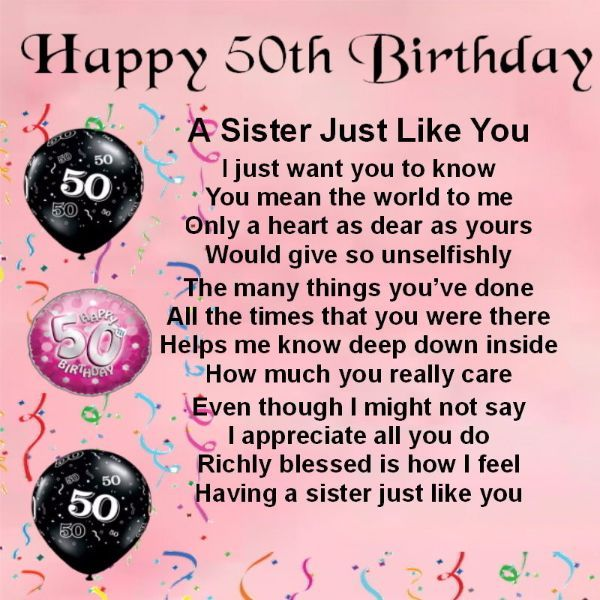 50th birthday wishes For Sister
