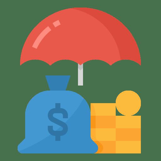 money with an umbrella