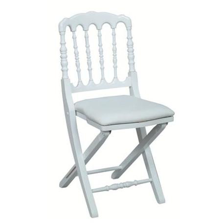 chaise napoleon iii blanche pliante prestige en bois happy days reception