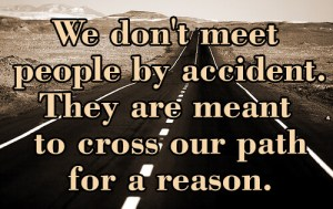 This picture shows a quote - 'We don't meet people by accident. They are meant to cross our path for a reason.'