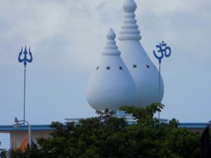 This picture shows the distinctive onion-shaped domes, the first thing you see as you approach Waterloo Temple in the Sea