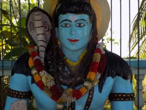 This picture shows a statue of a Hindu God in brilliant blue
