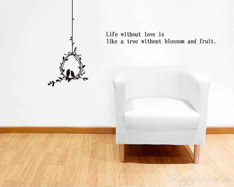 Loving Birds Cage With Quotes Wall Decal Vinyl Tree Art Stickers