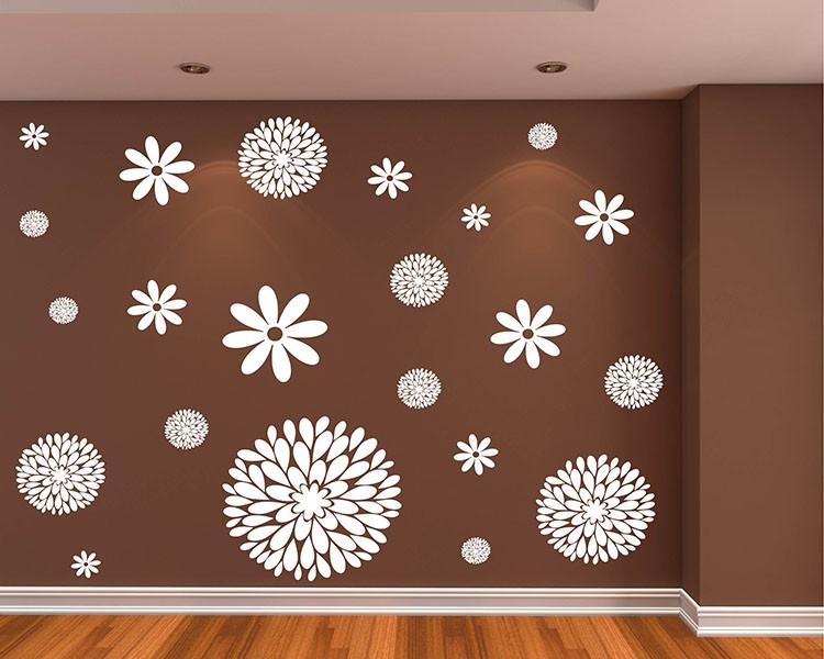 Flowers Pattern Wall Decal Modern Vinyl Sticker
