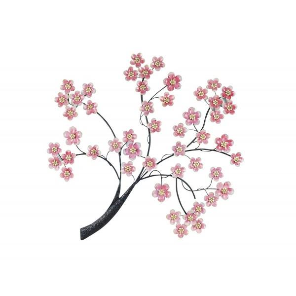 decoration murale metal le cerisier en fleur h 94 cm