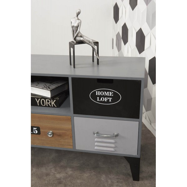 meuble tv industriel 5 tiroirs modele