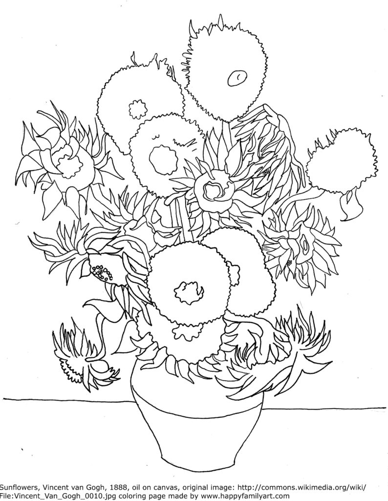 pics photos van gogh sunflowers coloring sheet