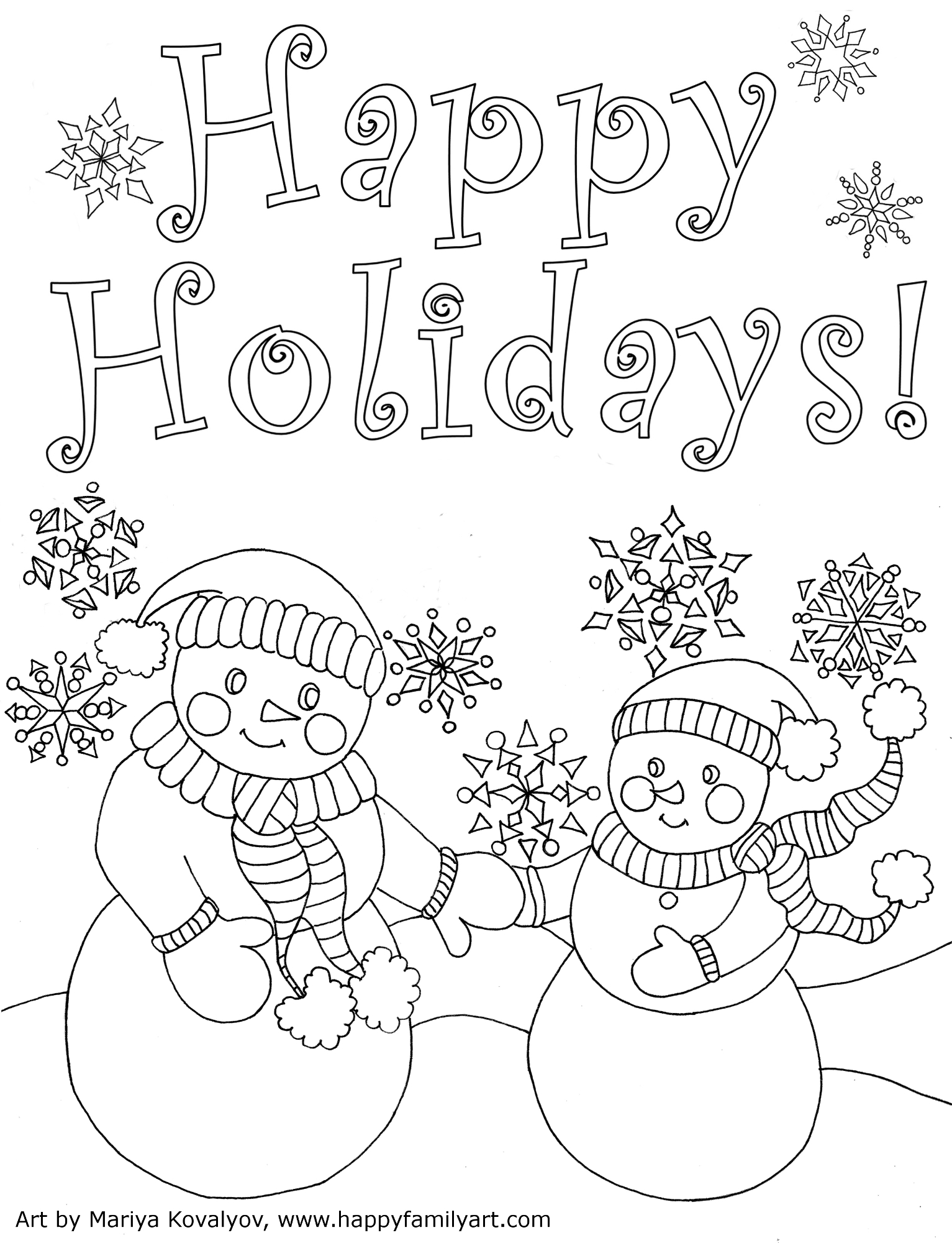Christmas Happy Holidays Coloring Pages