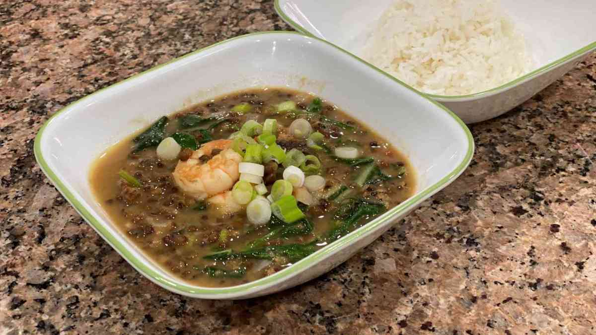 Filipino Ginisang Munggo Mung Beans in a bowl with rice