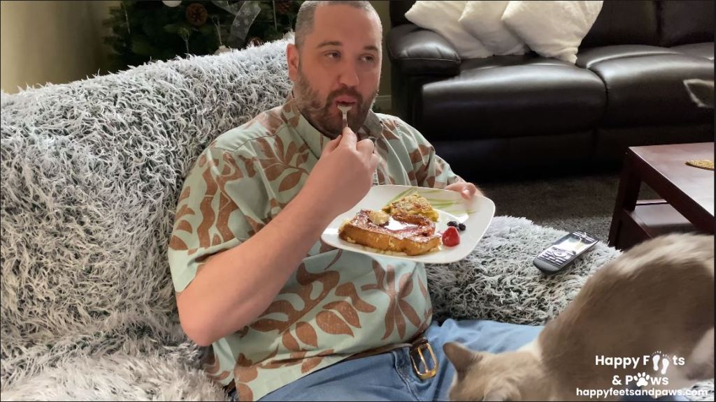 man eating french toast