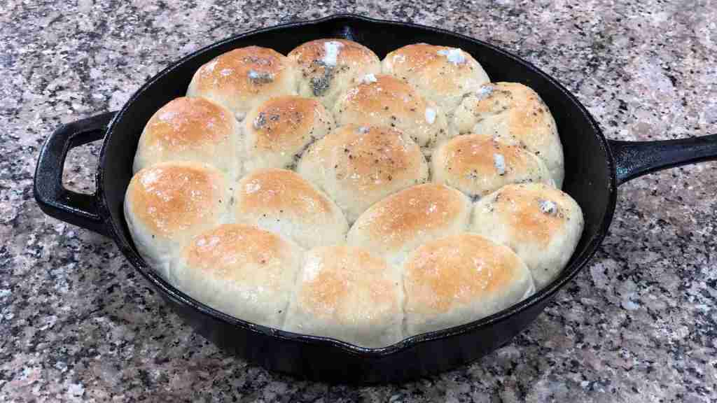 Home made cast iron bread rolls