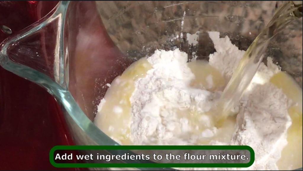 mixing wet ingredients for pelmeni recipe