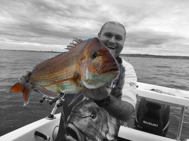 happy fisherman Jerry with snapper in port phillip bay