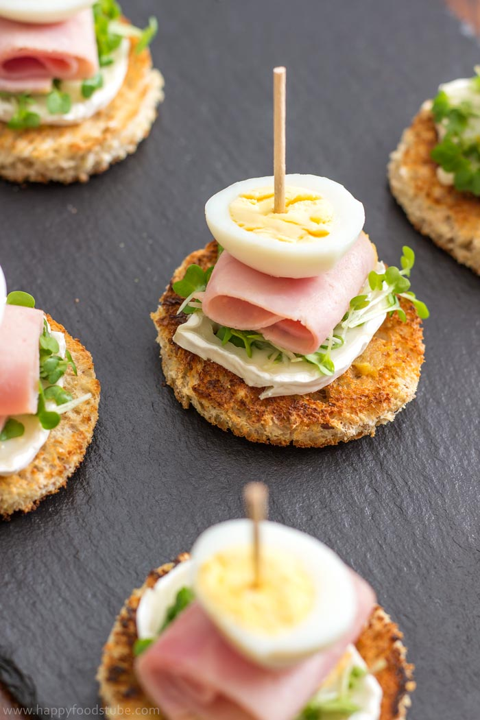 Quail Egg and Goat Cheese Pinchos (Pintxos) Bites - Very Popular Snack In Spain and Great Party Food Idea | happyfoodstube.com
