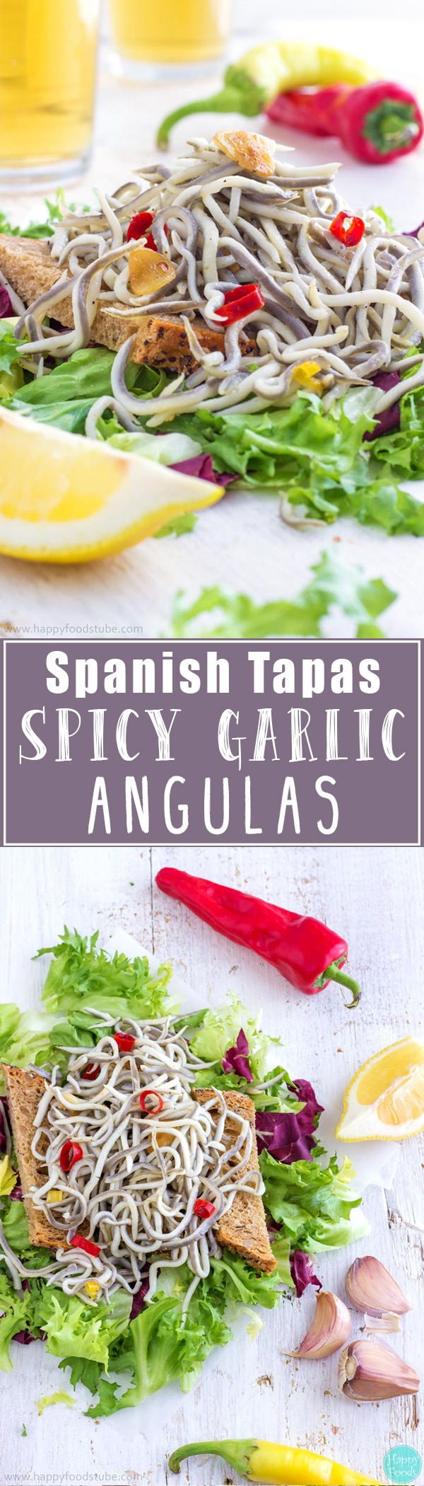 These Spicy Garlic Angulas make a great appetizer or a snack! Angulas are a traditional Basque dish but nowadays they can be enjoyed as tapas all over Spain | happyfoodstube.com