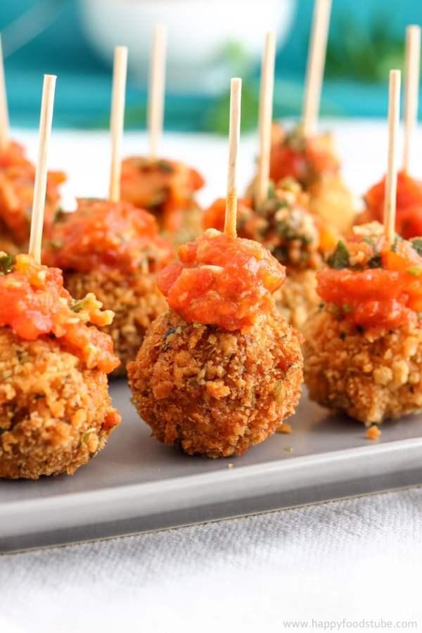 Fried Mozzarella Balls with Homemade Tomato Dip Photo