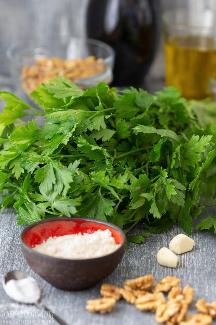 Fresh Ingredients for Parsley Pesto