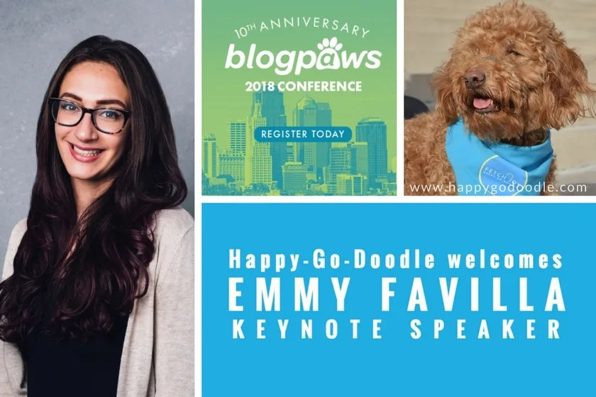 BlogPaws Conference Keynote Speaker Emmy Favilla and BlogPaws Conference logo and Happy-Go-Doodle Dog